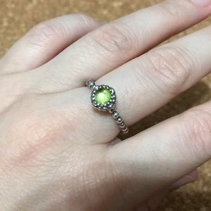 Retired Peridot Birthday Bloom Pandora Ring 56